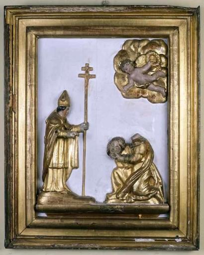 panneau de retable en demi-relief : sainte Valérie présentant sa tête à saint Martial