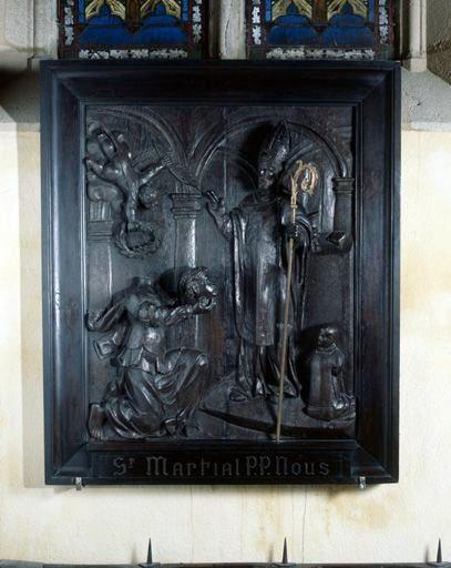 Haut-relief : sainte Valérie présentant sa tête à saint Martial