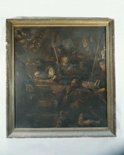 Tableau : l'Ensevelissement de sainte Valérie, ou : le bourreau Hortarius s'inclinant devant le corps supplicié de sainte Valérie
