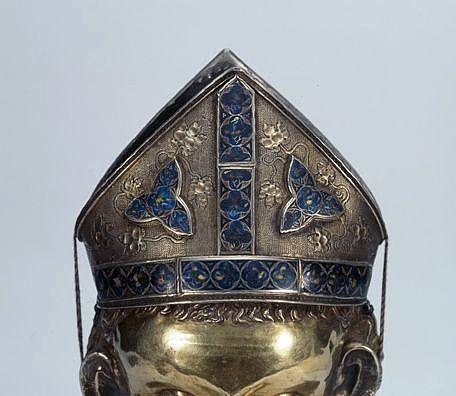 Copie du buste-reliquaire de saint Martin, avec éléments émaillés originaux