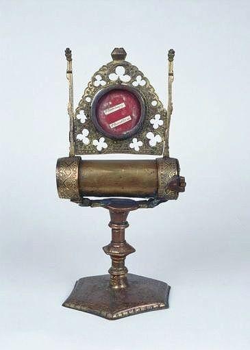 reliquaire-monstrance ostensoir (ostensoir-reliquaire pédiculé à monstrance cylindrique horizontale)