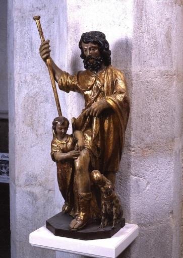 groupe sculpté : saint Roch de Montpellier