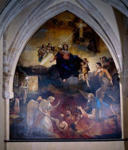Tableau : la Vierge intercédant pour les âmes du Purgatoire