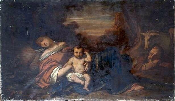 tableau, cadre : le repos de la sainte Famille en Egypte