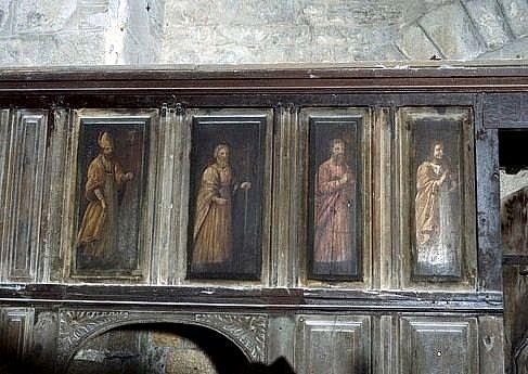 8 panneaux peints du tambour de porte : apôtres, évêques