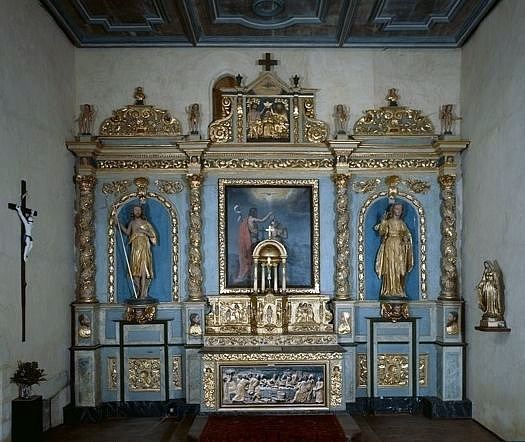 ensemble du maître-autel (autel, gradin d'autel, tabernacle, retable, 2 statues, tableau)