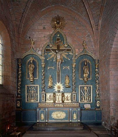 Retable de l'autel de la chapelle nord, 2 statues : saints évêques