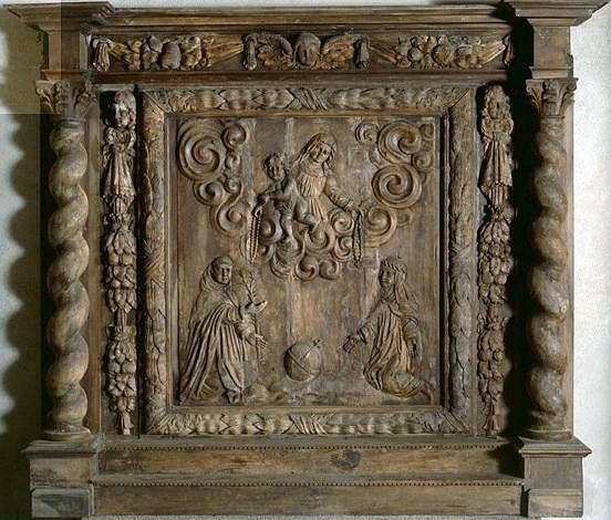 retable : remise du Rosaire à saint Dominique et à sainte Catherine de Sienne