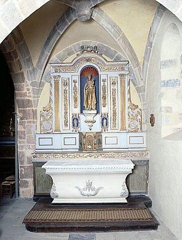 gradin d'autel, tabernacle, retable (autel de la chapelle sud)