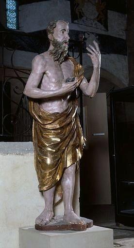 4 statues (grandeur nature) : Vierge, saint Jean-Baptiste, saint Jean l'Evangéliste, saint Jérôme