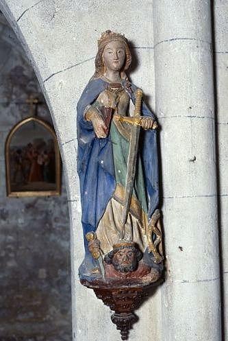 Statue (petite nature) : sainte Catherine d'Alexandrie