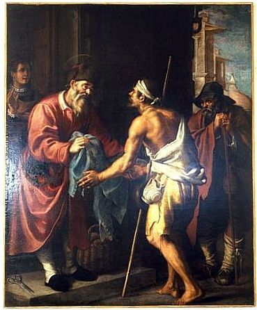 tableau : saint Hommebon donnant des habits aux pauvres