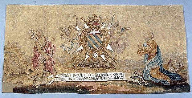 Antependium aux armes du chevalier de Gain de Linard entre saint Jean-Baptiste et saint Pierre