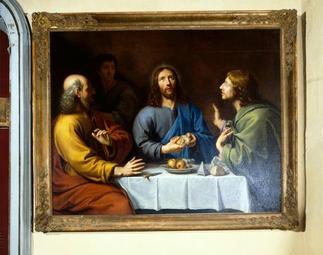 Tableau, cadre : le Repas avec les pèlerins d'Emmaüs