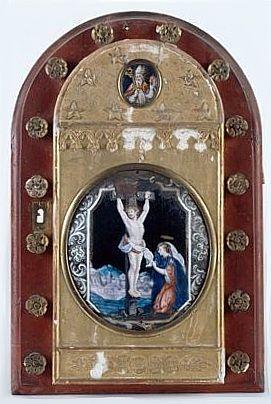 Tabernacle (porte de tabernacle) : le Christ en croix avec sainte Madeleine, saint Augustin