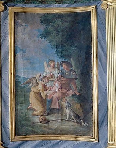 Tableau : la Guérison de saint Roch (lambris de revêtement de la chapelle du Sacré-Coeur)