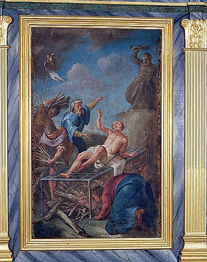 Tableau : le Martyre de saint Laurent (retable de la chapelle du Sacré-Coeur)