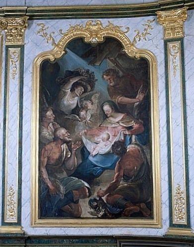 Tableau : l'Adoration des bergers (lambris de revêtement du décor de choeur)