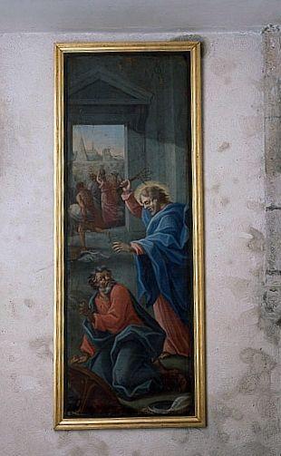 Tableau : les Marchands chassés du Temple (ensemble du décor intérieur)