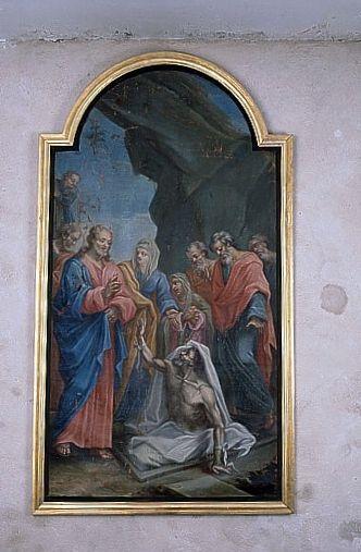 Tableau : la Résurrection de Lazare (ensemble du décor intérieur)
