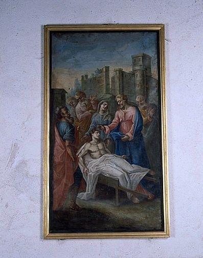 Tableau : la Résurrection du fils de la veuve de Naïn (ensemble du décor intérieur)