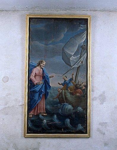 Tableau : Jésus marchant sur les eaux (ensemble du décor intérieur)