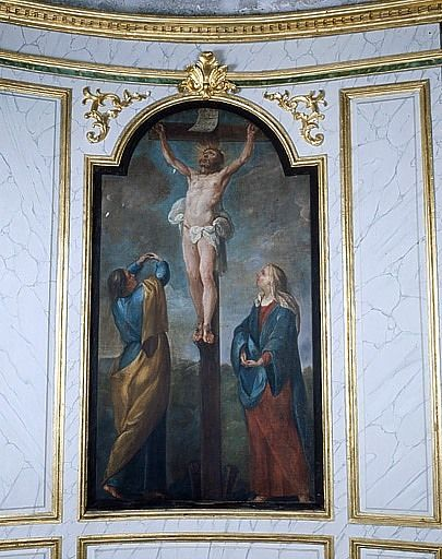 Tableau : le Calvaire (lambris de revêtement de la chapelle Notre-Dame-de-Pitié)