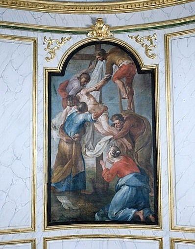 Tableau : la Descente de croix (lambris de revêtement de la chapelle Notre-Dame-de-Pitié)