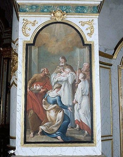 Tableau : la Présentation de Jésus au Temple, ou la Purification de la Vierge (lambris de revêtement du décor de choeur)