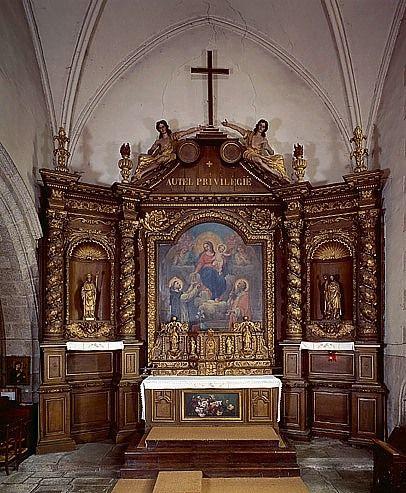 Retable architecturé, tableau d'autel : la Remise du rosaire à saint Dominique (maître-autel)