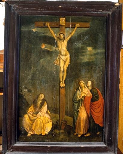 Tableau, cadre : Calvaire avec sainte Madeleine