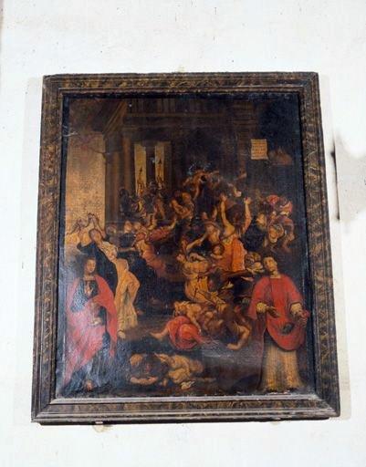 tableau, cadre : le Massacre des Innocents avec saint Jean et saint Etienne