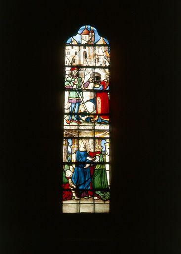 verrière de la baie 6 : le bourreau présentant la tête de saint Jean-Baptiste à Salomé, la Visitation (ensemble de 3 verrières historiées)