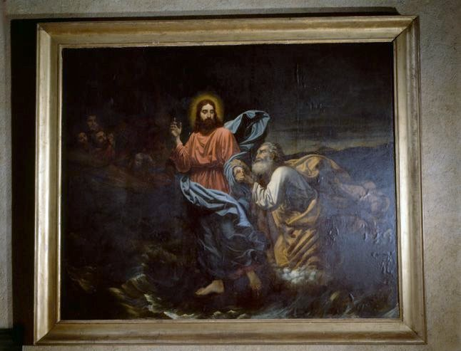 tableau, cadre : le Christ marchant sur les eaux
