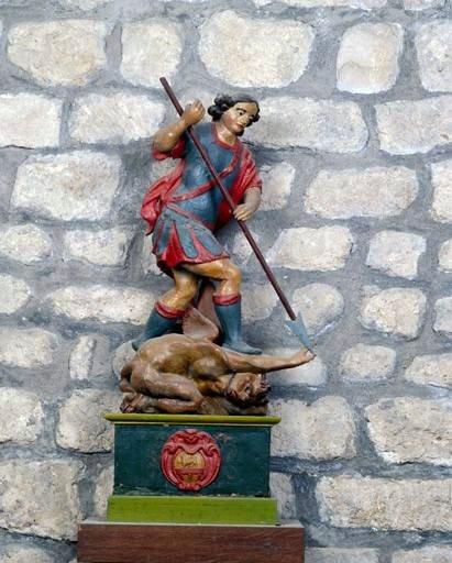 Statue : saint Michel terrassant le démon (ensemble de 4 statuettes)