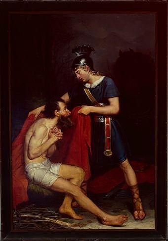 tableau : saint Martin donnant à un pauvre la moitié de son manteau, ou la Charité de saint Martin