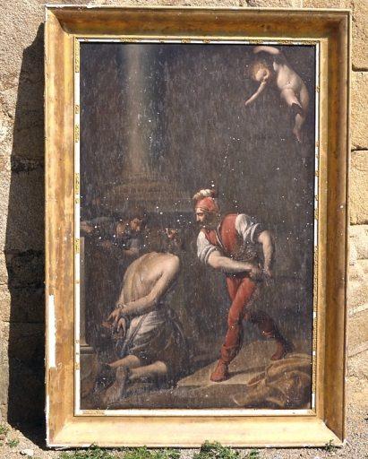 Tableau et cadre : le Martyre de saint Christophe