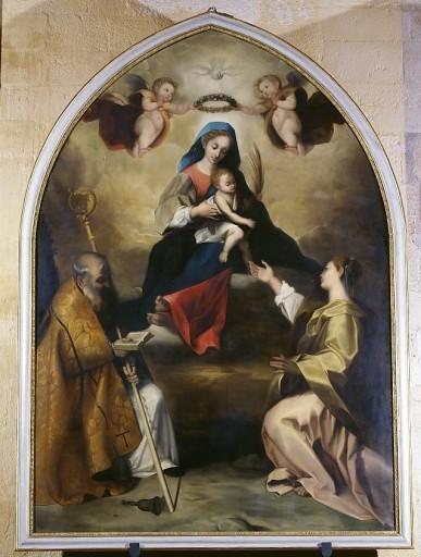 Tableau et cadre : Vierge à l'Enfant avec saint Antoine abbé et sainte Lucie