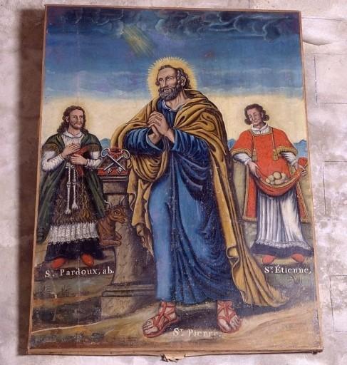 tableau : saint Pierre entre saint Pardoux et saint Etienne