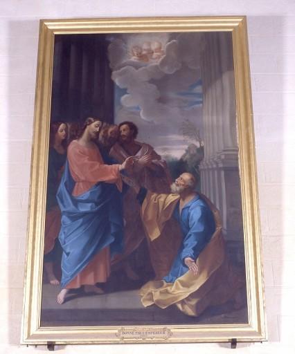 tableau, cadre : le Christ donnant à saint Pierre les clés de l'Eglise