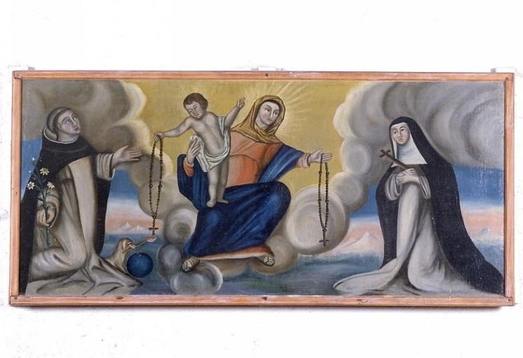 Antependium : la Remise du rosaire à saint Dominique et sainte Catherine de Sienne