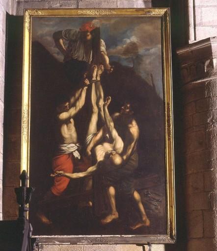 tableau, cadre : le crucifiement de saint Pierre