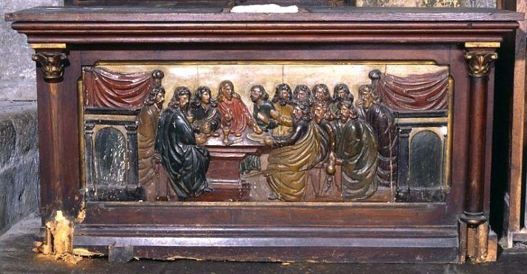 demi-relief remployé en devant d'autel : la Cène
