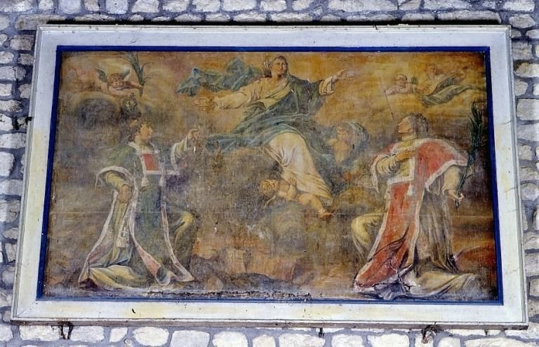 Tableau : la Vierge entre deux diacres martyrs