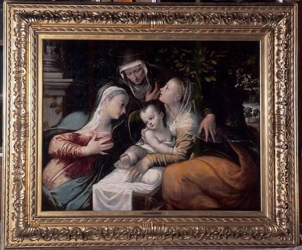Tableau et cadre : sainte Anne trinitaire avec sainte Catherine d'Alexandrie, dite la sainte Conversation