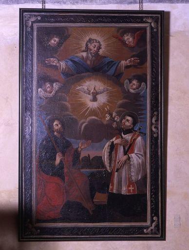 tableau, cadre : apparition de Dieu à saint Jacques le Majeur et saint Louis de Gonzague (?)