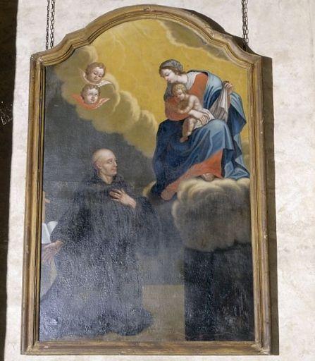 tableau, cadre : apparition de la Vierge à l'enfant à un moine bénédictin