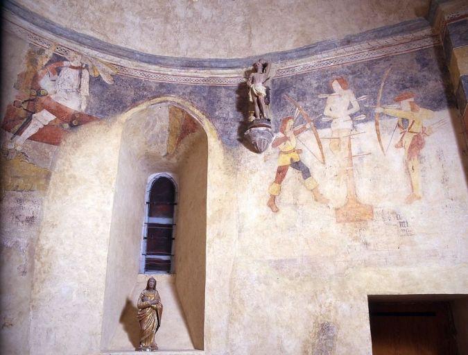 Peinture monumentale : Charité de saint Martin, saint Georges et le dragon, Martyre de saint Sébastien
