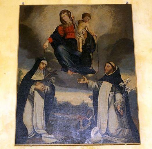 Tableau : la Remise du rosaire à sainte Catherine de Sienne et saint Dominique de Guzman