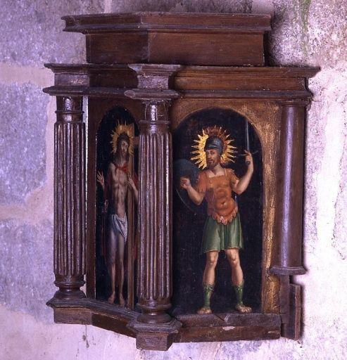 Tabernacle peint et élément de retable de l'ancien maître-autel